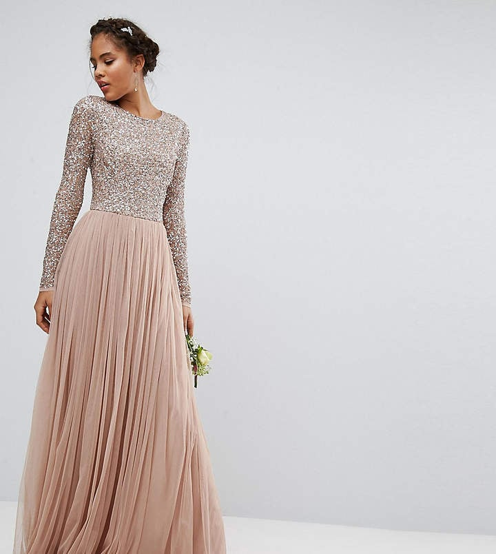Maya Long-Sleeved Maxi Dress with Delicate Sequin and Tulle Skirt