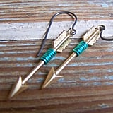 Black Star Turquoise Wire Wrapped Brass Arrow Earrings, $22