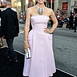 At the Total Recall LA premiere, Jessica Biel exuded major glamour in a pink strapless Christian Dior gown and shiny white accoutrements.