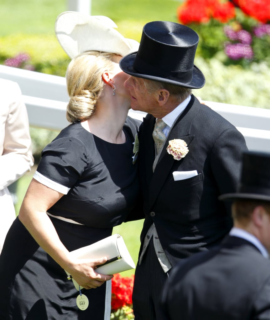 Philip gave his granddaughter Zara Phillips a peck on the cheek as they arrived for Royal Ascot in June 2014.