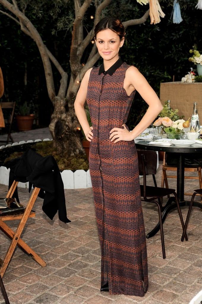 Rachel Bilson wore a floor-length patterned dress.