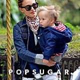 Natalie Portman spent the afternoon with her son, Aleph, at a park in Paris.