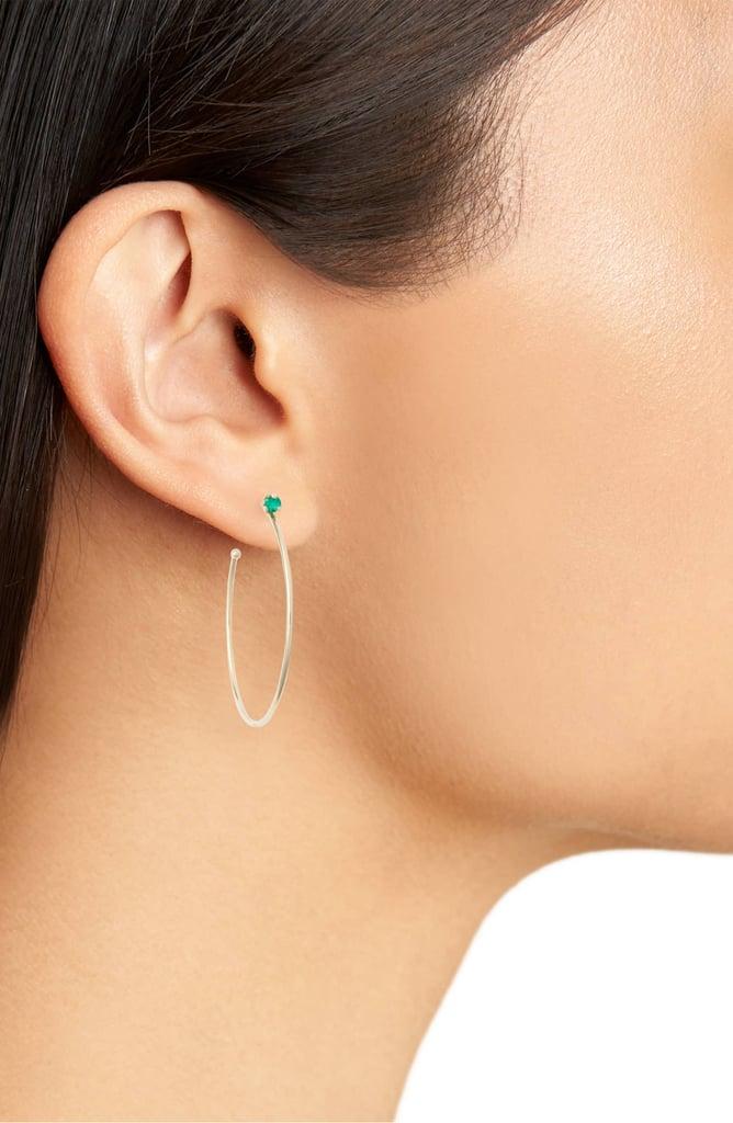 Zoë Chicco Emerald Prong Hoop Earrings