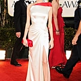 Angelina Jolie wore a Versace gown to the Golden Globe Awards.