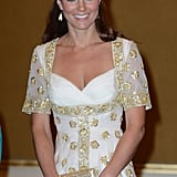 Kate Middleton paired her dress with a matching clutch.