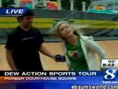 Reporter Falls Off Skateboard During News Report