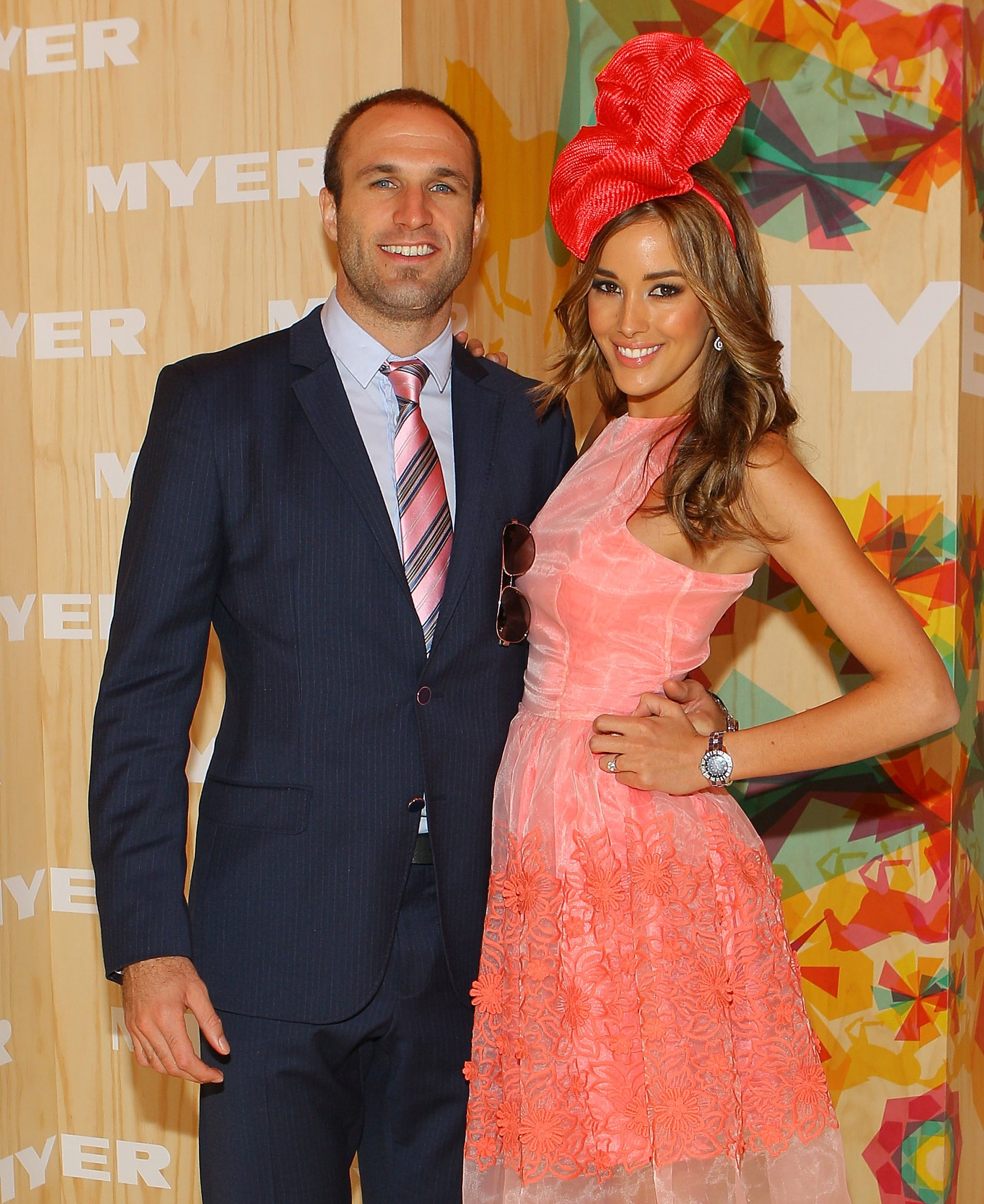 Cute couple! Chris Judd and Rebecca Twigley look loved up. Aww.