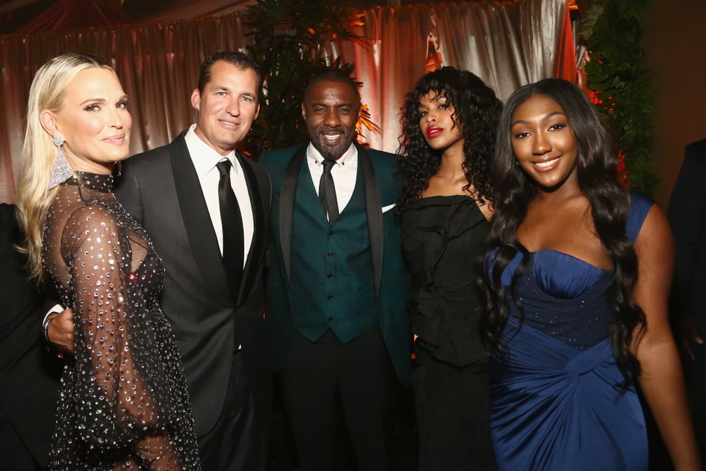 Molly Sims, Scott Stuber, Idris Elba, Sabrina Dhowre, and Isan Elba at the Golden Globes 2019