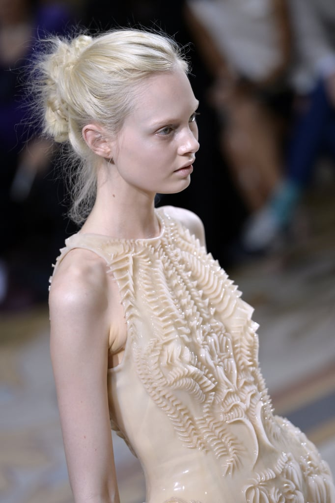 Sculpted armor-like accents from the Iris van Herpen Haute Couture Fall 2013 collection impressed us.
