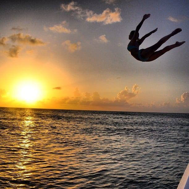 Julianne Hough got some serious air while jumping off a boat. Source: Instagram user juleshough