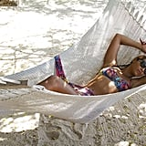 She relaxed in a hammock during a beach vacation in April 2012.