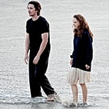 Christian Bale and Natalie Portman walked on the beach in Malibu for work.