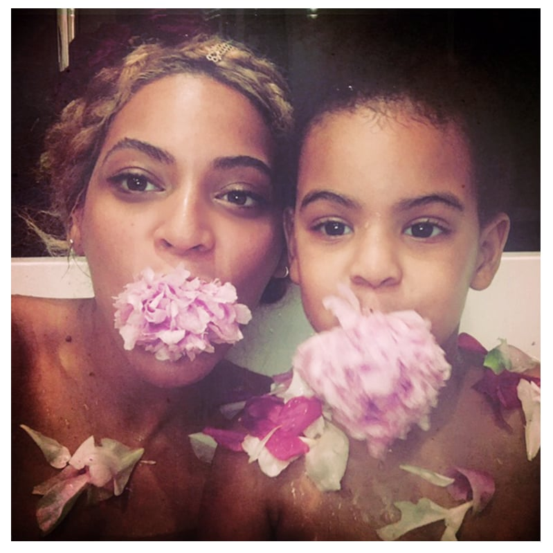 "Beyoncé has been hitting the stage on her Formation World Tour since last month, but the superstar recently took time out to celebrate her other job: being Blue Ivy Carter's mom. Beyoncé took to her blog to share personal photos from Mother's Day, including snaps of her and 4-year-old Blue bathing in a tub of flower petals and she and husband Jay Z visiting the Rothko Chapel church and museum in Houston, TX. Also there for the fun was Beyoncé's mom, Tina, who was all smiles while posing with her famous daughter in front of one of the artist's paintings. While in Houston, Beyoncé performed a concert at the NRG Stadium; the show brought out her dad, Mathew, who has made headlines for his recent quotes about the more cryptic lyrics on Beyoncé's Lemonade album. Tina shared an Instagram photo of Mathew and Beyoncé hugging backstage after her show, writing, ""Proud dad!"""