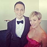 Kaley Cuoco met up with Jim Parsons for a fun snap.
