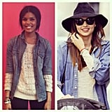 Twins! Assistant editor Britt got some styling inspiration from Miranda Kerr's cool take on the denim button-down.
