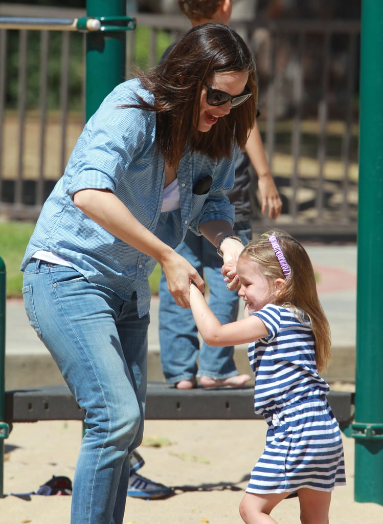 Jennifer Garner had fun with Seraphina Affleck on the playground in LA in June 2012.