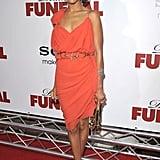 Zoe Saldana in orange Lanvin at the Death at a Funeral premiere in LA — get a similar look.
