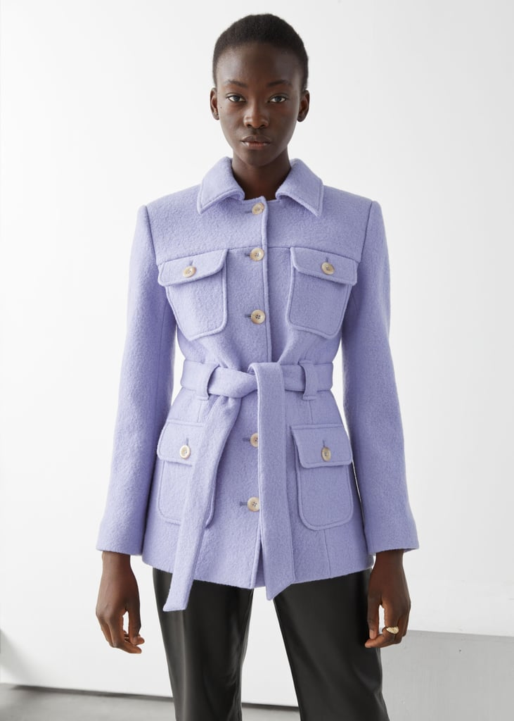 & Other Stories Belted Button Up Wool Jacket