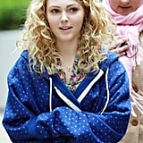 AnnaSophia Robb kept warm in a blue hoodie while shooting The Carrie Diaries in NYC.