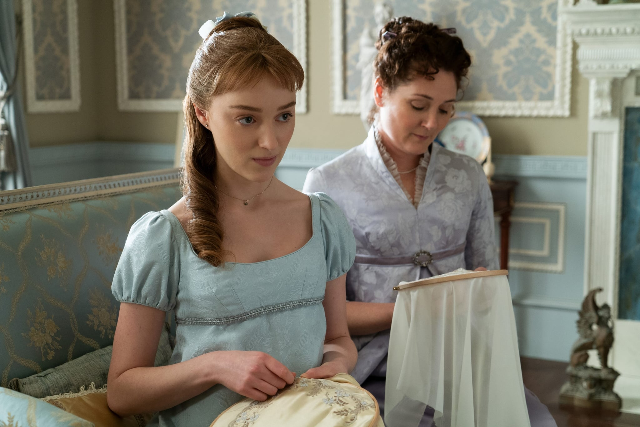 BRIDGERTON, from left: Phoebe Dynevor, Ruth Gemmell, Diamond of the First Water', (Season 1, ep. 101, aired Dec. 25, 2020). photo: Liam Daniel / Netflix / Courtesy Everett Collection