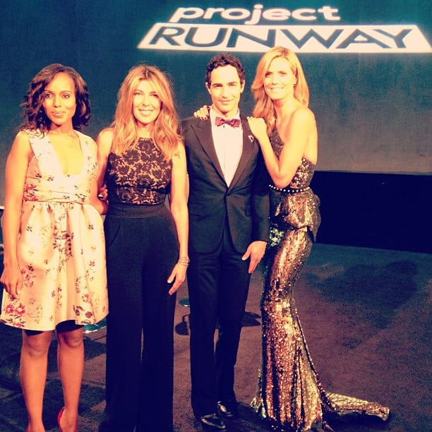 Kerry Washington, Nina Garcia, Zac Posen, and Heidi Klum struck a pose together before the Project Runway finale show during NYFW. Source: Instagram user zac_posen
