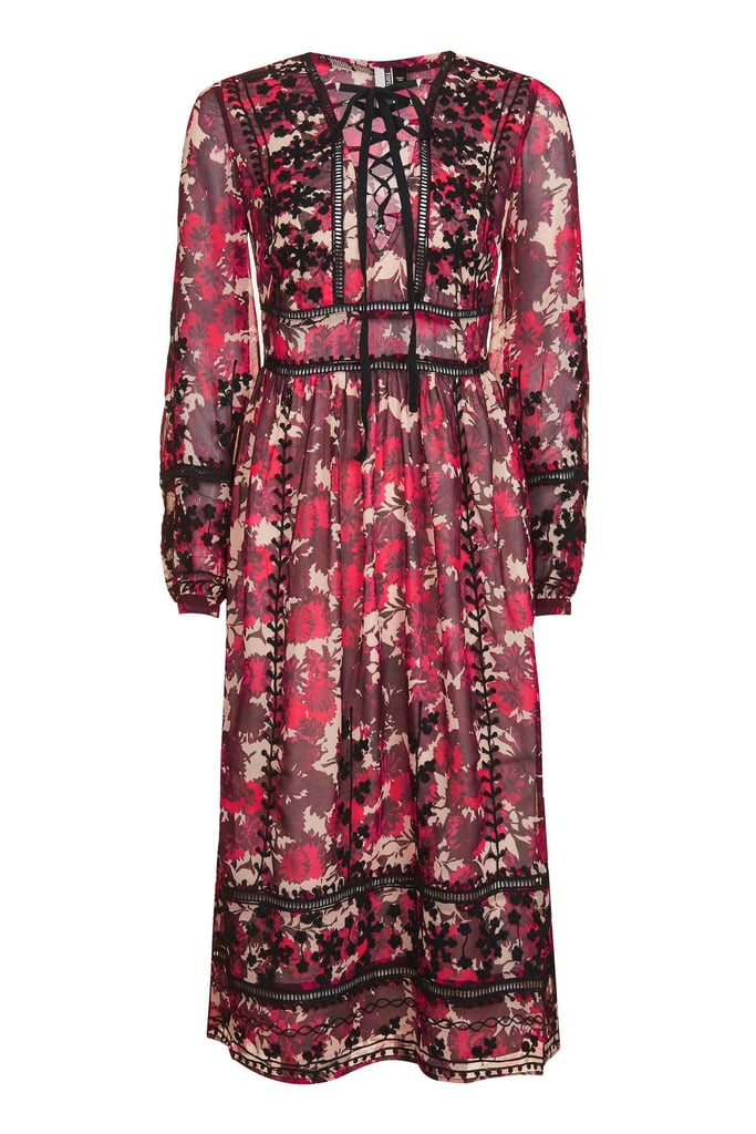 Topshop Floral Embroidered Midi Dress (£75)