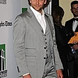 Bradley Cooper wore a grey suit to attend the gala in Los Angeles.