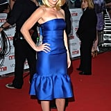 A gorgeous red-carpet moment in a blue ruffle-hemmed strapless in London at the National Movie Awards, May 2011.