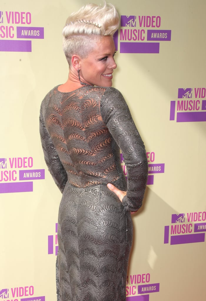 2012: Pink went for understated glam in a silver dress and bright blond mohawk.