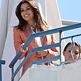 Eva Longoria smiled at a photo shoot on the rooftop of a hotel at the Cannes Film Festival.