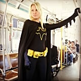 Batwoman showed her support on public transportation.  Source: Instagram user acox_13