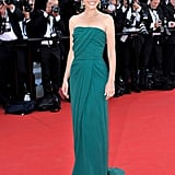 Virginie Ledoyen wore a green gown to the opening of the Cannes Film Festival and premiere of Moonrise Kingdom.