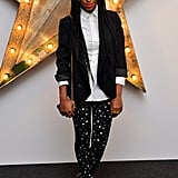For a July 2011 evening event, Solange paired Dolce & Gabbana's star-print pants with a polka-dot button-down blouse from the brand. Her sharp blazer and mile-long braids only added to the hip factor.