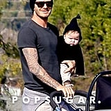 David Beckham held onto Harper and bundled her up in a cute hooded sweater in December 2011 while the boys played at a park in LA.