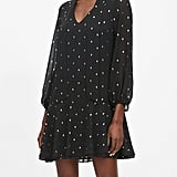 Petite Metallic Dot Tie-Neck Dress