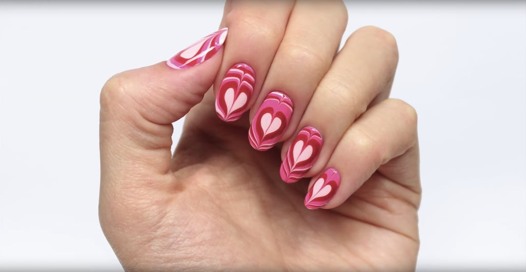 Heart Water Marble Nail Art Tutorial Popsugar Beauty
