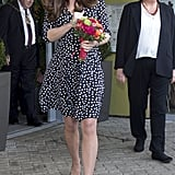 The Duchess of Cambridge showed off her frugal fashion skills when she attended the Brookhill Children's Centre on Wednesday.