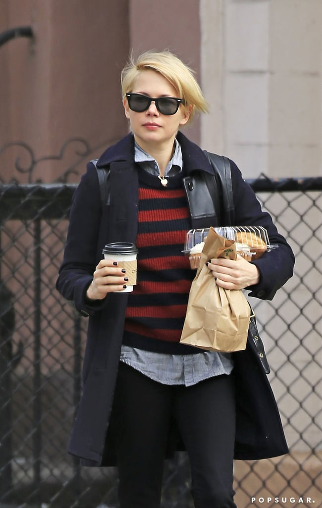 Michelle Williams got coffee in Brooklyn, NY.