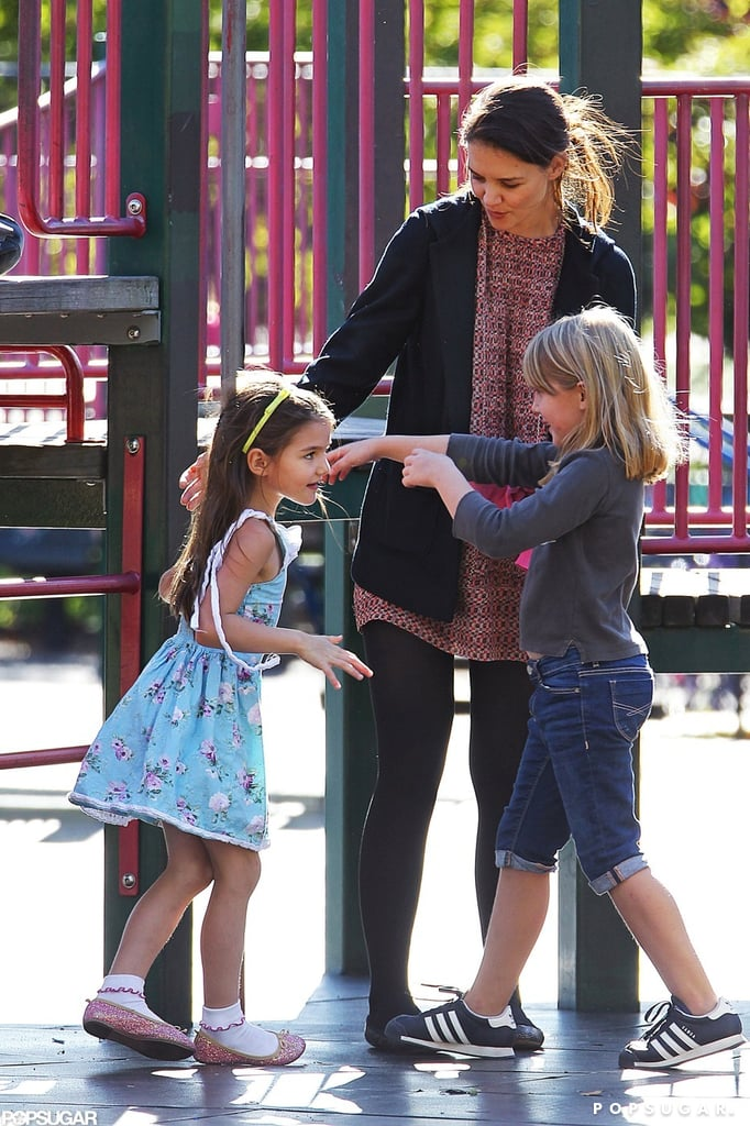 Katie Holmes accompanied Suri to a playground in Brooklyn.