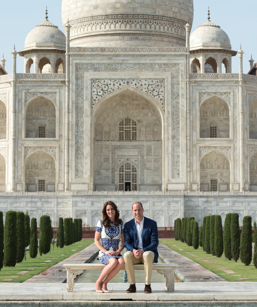 The Duke and Duchess of Cambridge's tour of India has officially come to an end. After bidding farewell to Bhutan at Paro Airport on Saturday morning, the royal couple visited the Taj Mahal in matching blue and white ensembles, marking the final stop on their week-long trip. While there, the duo took a moment to honour Princess Diana, posing in front of the ivory-white marble mausoleum just like she did back in 1992.  Of course, there were no shortage of golden moments throughout their tour. From Kate's adorable interactions with kids to the pair's animal-filled safari trip — and even Kate's hilarious facial expressions — it goes without saying that their trip was definitely one for the books. Keep reading to see how William and Kate concluded their royal visit, and then check out their cutest couple moments from the trip.