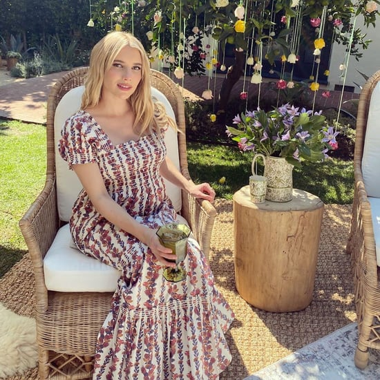 Emma Roberts Wears a Tory Burch Dress For Her Baby Shower