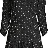 Scoop Ruched Sleeve Ruffle Faux Wrap Mini Dress