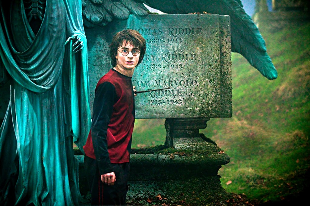 Here's Harry Potter at the grave of Thomas Riddle, Voldemort's father, in Harry Potter and the Goblet of Fire.