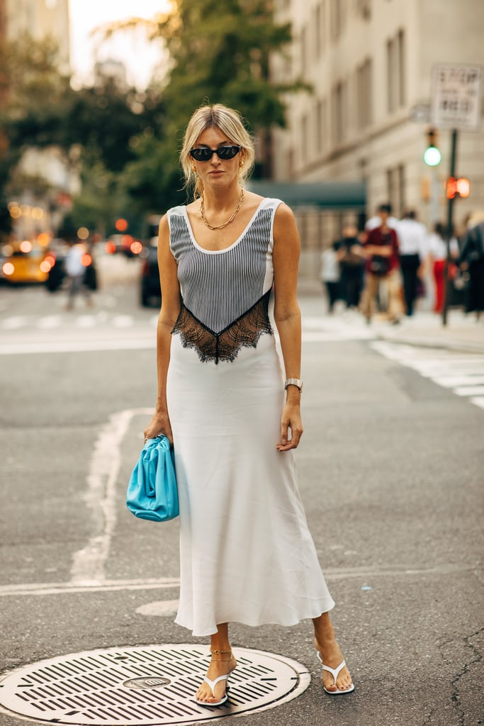 Let a great dress speak for itself, and simply add in barely-there sandals.