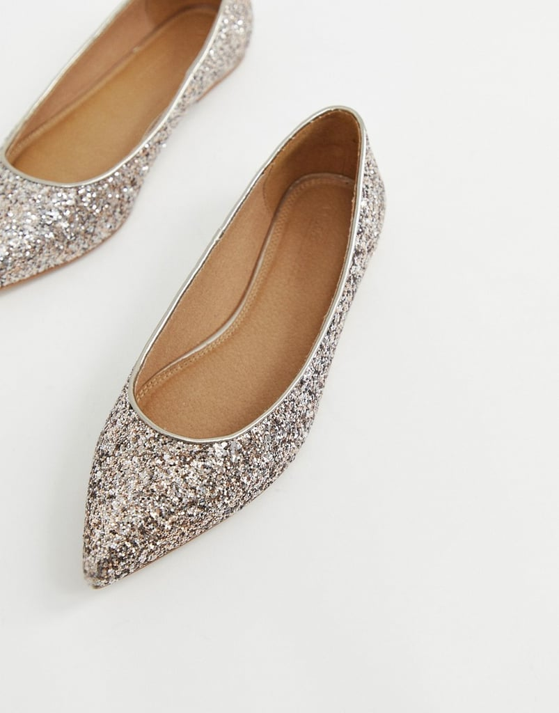 a22ae55ab2c Asos Design Wide Fit Latch Pointed Ballet Flats