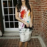 Remember this?! In a paint-splattered sheath at the Yves Saint Laurent Cruise 2008 collection preview.
