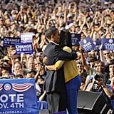 The two shared a big hug.