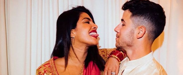 Priyanka Chopra and Nick Jonas Celebrating Their First Karva