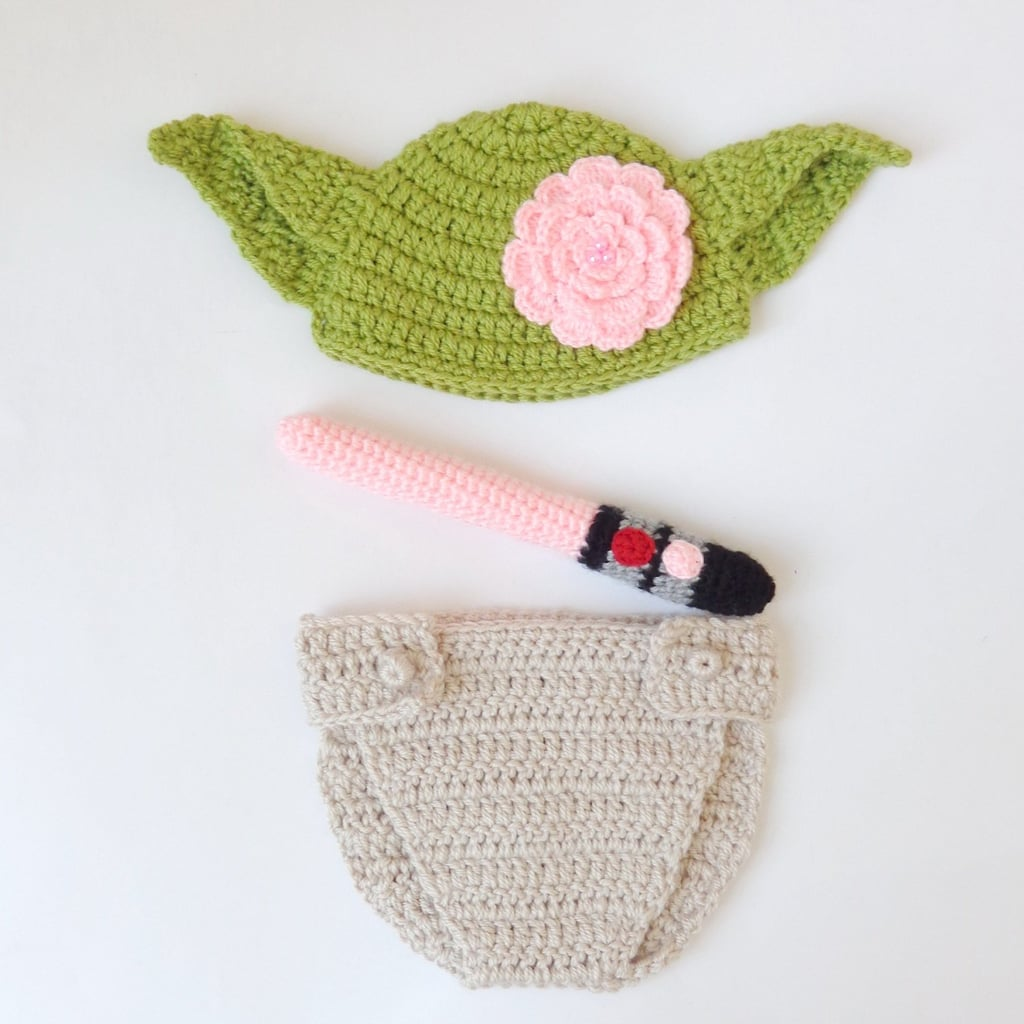 Pink Lightsaber Yoda Hat With Flower And Diaper Cover Crocheted