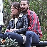 Shia LaBeouf and new girlfriend Mia Goth showed PDA.